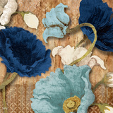 Blue Joyful Poppies I Print by Elizabeth Medley