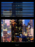 Window View with Venetian Blinds: Manhattan Skyscrapers and Times Square by Night Photographic Print by Philippe Hugonnard