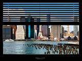 Window View with Venetian Blinds: Lower Manhattan Buildings - East River Photographic Print by Philippe Hugonnard