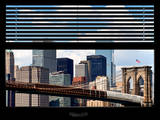 Window View with Venetian Blinds: New York City with Brooklyn Bridge and Skyscarpers - Manhattan Photographic Print by Philippe Hugonnard