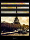 Window View with Venetian Blinds: the Eiffel Tower and Seine River Views at Sunset - Paris, France Photographic Print by Philippe Hugonnard