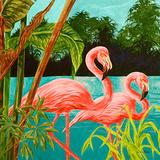 Hot Tropical Flamingo II Prints by Linda Baliko