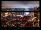 Window View with Venetian Blinds: Manhattan on a Foggy Night - Theater District and Times Square Photographic Print by Philippe Hugonnard