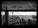 Window View with Venetian Blinds: Landscape Manhattan with Empire State Building (1 WTC) Photographic Print by Philippe Hugonnard