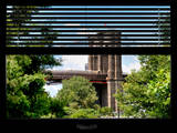 Window View with Venetian Blinds: the Brooklyn Bridge View - Manhattan Photographic Print by Philippe Hugonnard