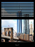 Window View with Venetian Blinds: Vertical Format of NYC Center and Brooklyn Bridge - Manhattan Fotografisk tryk af Philippe Hugonnard