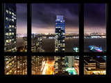 Cityscape Foggy Night in Manhattan - Hudson River View - New York, USA Photographic Print by Philippe Hugonnard
