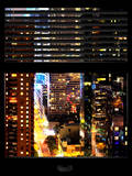 Window View with Venetian Blinds: View of Buildings on the 42nd Street in Times Square by Night Photographic Print by Philippe Hugonnard