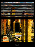Window View with Venetian Blinds: 42nd Street and Times Square at Sunset Photographic Print by Philippe Hugonnard