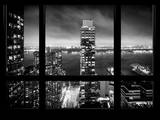 Cityscape Foggy Night in Manhattan - Hudson River View - New York City, USA Photographic Print by Philippe Hugonnard