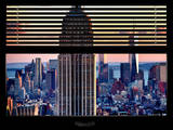 Window View with Venetian Blinds: Tops of the Empire State Building and One World Trade Center Photographic Print by Philippe Hugonnard