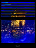 Window View with Venetian Blinds: Special Series Blue Reflections - Haussmann Appartment Paris Photographic Print by Philippe Hugonnard