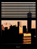 Window View with Venetian Blinds: the One World Trade Center (1WTC) at Sunset - Manhattan Photographic Print by Philippe Hugonnard