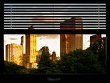 Window View with Venetian Blinds: View of Buildings along Central Park at Sunset Photographic Print by Philippe Hugonnard