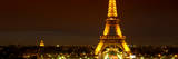 Panoramic Cityscape Paris with Eiffel Tower at Night Photographic Print by Philippe Hugonnard