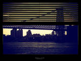 Window View with Venetian Blinds: the Williamsburg Bridge at Nightfall Photographic Print by Philippe Hugonnard