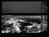 Window View with Venetian Blinds: Hudson River by Night - Manhattan Photographic Print by Philippe Hugonnard
