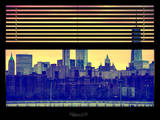 Window View with Venetian Blinds: Cityscape with the One World Trade Center (1WTC) at Nightfall Photographic Print by Philippe Hugonnard