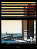 Window View with Venetian Blinds: South Street Seaport View with Statue of Liberty - Manhattan Photographic Print by Philippe Hugonnard