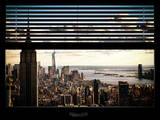 Window View with Venetian Blinds: Cityscape Manhattan with Empire State Building (1 WTC) Papier Photo par Philippe Hugonnard