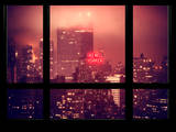 Manhattan Pink Foggy Night with the New Yorker Hotel - New York, USA Photographic Print by Philippe Hugonnard