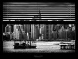 Window View with Venetian Blinds: Skyline Lower Manhattan with Chrysler Building Photographic Print by Philippe Hugonnard