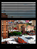 Window View with Venetian Blinds: Buildings of Chelsea with One World Trade Center View Photographic Print by Philippe Hugonnard