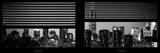 Window View with Venetian Blinds: Manhattan Skyline by Night with the Empire State Building Reproduction photographique par Philippe Hugonnard