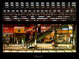 Window View with Venetian Blinds: Subway Station View of Williamsburg - Brooklyn Photographic Print by Philippe Hugonnard