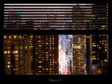 Window View with Venetian Blinds: Times Square on a Foggy Night - Manhattan Photographic Print by Philippe Hugonnard