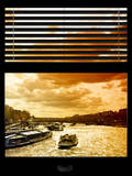Window View with Venetian Blinds: Boats on the Seine River Views at Sunset - Paris, France Photographic Print by Philippe Hugonnard
