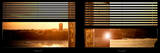 Window View with Venetian Blinds: Buildings Sunset View Photographic Print by Philippe Hugonnard
