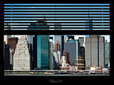 Window View with Venetian Blinds: Cityscape View of NYC with One World Trade - Lower Manhattan Photographic Print by Philippe Hugonnard