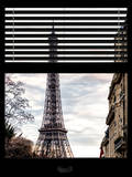 Window View with Venetian Blinds: Eiffel Tower at Sunset - French Architecture Photographic Print by Philippe Hugonnard