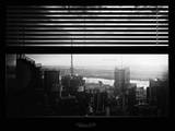 Window View with Venetian Blinds: View Buildings Manhattan at Sunset Photographic Print by Philippe Hugonnard