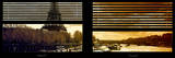 Window View with Venetian Blinds: the Eiffel Tower and Seine River Views at Sunset Photographic Print by Philippe Hugonnard