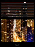 Window View with Venetian Blinds: 42nd Street by Night - Theater District and Times Square Photographic Print by Philippe Hugonnard