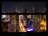Window View with Venetian Blinds: Skyline of Manhattan by Night Photographic Print by Philippe Hugonnard