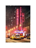NYC Yellow Taxis in Manhattan under the Snow in front of the Radio City Music Hall Photographic Print by Philippe Hugonnard