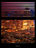Window View with Venetian Blinds: Landscape by Misty Colors Night Photographic Print by Philippe Hugonnard