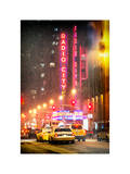 Instants of NY Series - NYC Yellow Taxis in Manhattan under Snow in front of Radio City Music Hall Photographic Print by Philippe Hugonnard