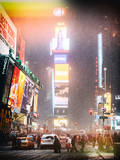 Instants of NY Series - NYC Urban Scene at Times Square during a Snowstorm by Night Photographic Print by Philippe Hugonnard