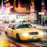 Instants of NY Series - Snowstorm on 42nd Street in Times Square with Yellow Cab by Night Photographic Print by Philippe Hugonnard
