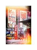 Instants of NY Series - Urban Street Scene with a Yellow Taxi in Winter Photographic Print by Philippe Hugonnard