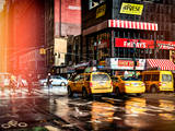 Instants of NY Series - Urban Street Scene with NYC Yellow Taxis - Cabs in Winter Photographic Print by Philippe Hugonnard