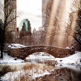 Instants of NY Series - Snowy Gapstow Bridge of Central Park, Manhattan in New York City Photographic Print by Philippe Hugonnard