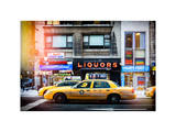 Instants of NY Series - Urban Scene with Yellow Taxis Manhattan Winter Photographic Print by Philippe Hugonnard