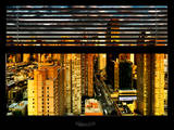Window View with Venetian Blinds: 42nd Street and Times Square at Sunset - Manhattan Photographic Print by Philippe Hugonnard