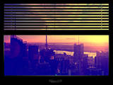 Window View with Venetian Blinds: View Buildings Manhattan at Sunset - Hudson River View Photographic Print by Philippe Hugonnard