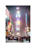 NYC Urban Scene at Times Square during a Snowstorm by Night Photographic Print by Philippe Hugonnard